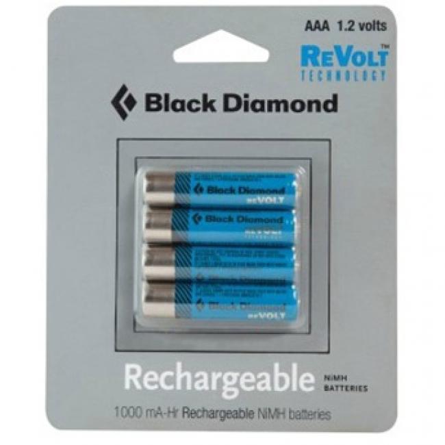 Black Diamond AAA Rechargable Battery 4 Pack for ReVolt Headlamp