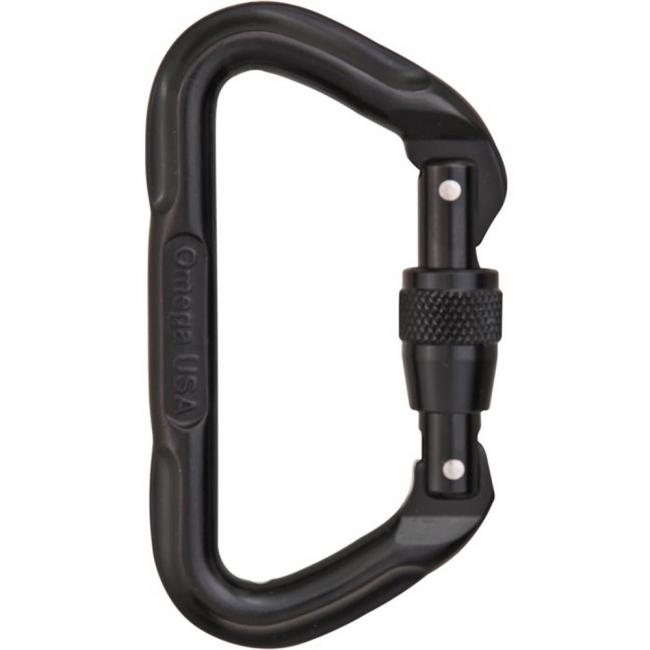 Omega Pacific D Screw-Lok Carabiner - Black