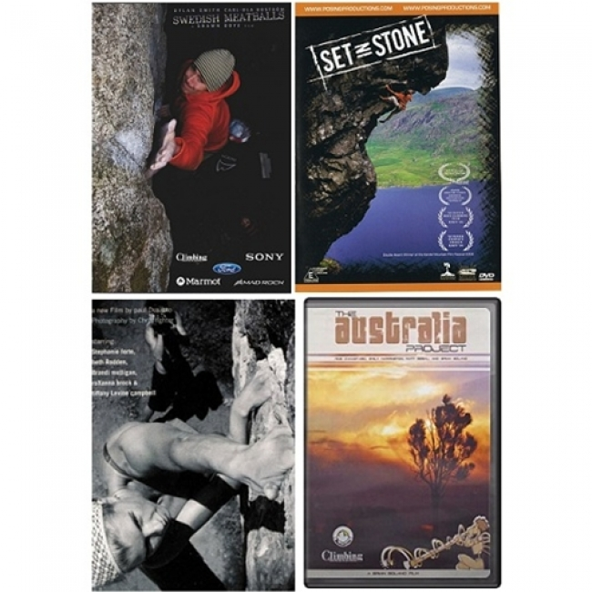 DVD 4 pack: Set in Stone, A Day in the Life, Swedish Meatballs, The Australian Project