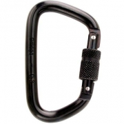 "Omega Pacific 7/16"" Steel Modified D Screw-Lok Carabiner - Black"